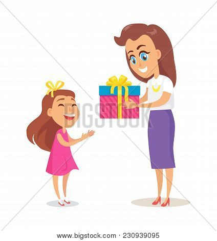 Mom Greets Daughter With Winter Holidays Vector Postcard Isolated On White Background. Mother And Ch