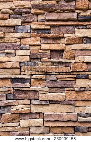 Abstract Background Of Stone Tecture, Decorative House.