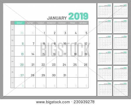 Set Identical Planners, 2019, January Separately, Flat, Template. Menology For Notes, Scheduling, Ma