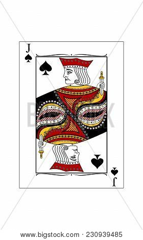 The Beautiful Card Of The Jack Of Spades In Classic Style.