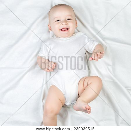 Photo Of Five-month Child On White Background