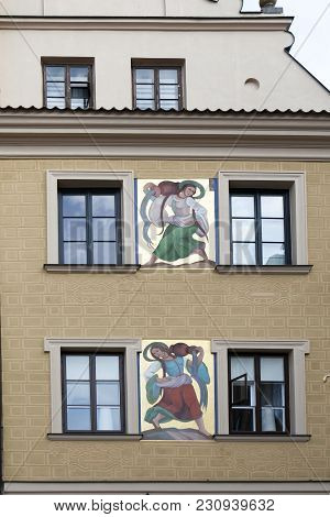 Warsaw, Poland - May 01, 2017, A Lot Of Warsaw Buildings Have This Kind Of Very Interesting Artwork