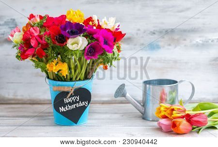 Happy Mothers Day Reminder With Colorful Flowers