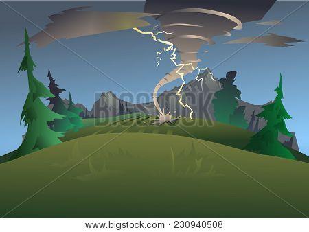 Mountain Landscape In Bad Weather. Tornado, Hurricane And Lightning. Natural Disaster. Vector Illust