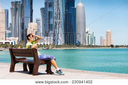 Heat Exhausted Female Runner In Doha, Qatar