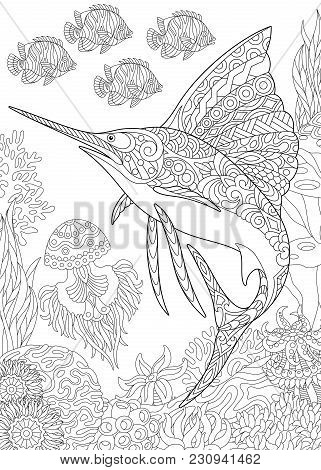 Coloring Page For Adult Colouring Book. Underwater Background With Sailfish, Jellyfish, Tropical Fis