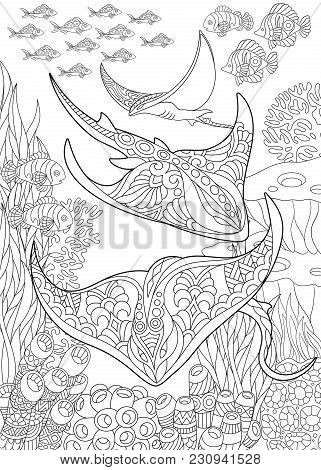 Coloring Page For Adult Colouring Book. Underwater Background With Stingray Shoal, Tropical Fishes A
