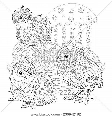 Chicks Around Basket With Easter Eggs And Easter Cake. Coloring Page For Adult Colouring Book. Antis
