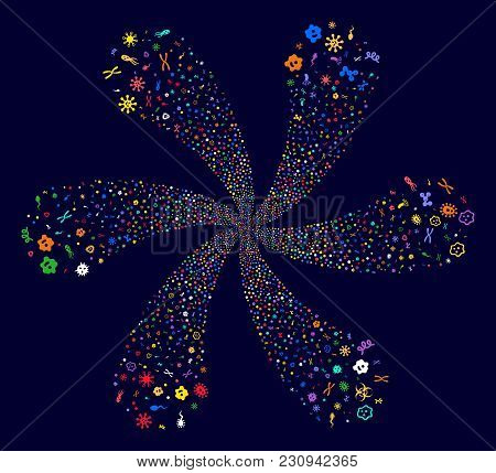 Multicolored Microbes Cyclonic Spin On A Dark Background. Hypnotic Flower Combined From Randomized M