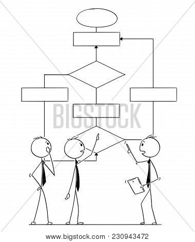 Cartoon Stick Man Drawing Conceptual Illustration Of Business Team Or People Working On Logical Sche