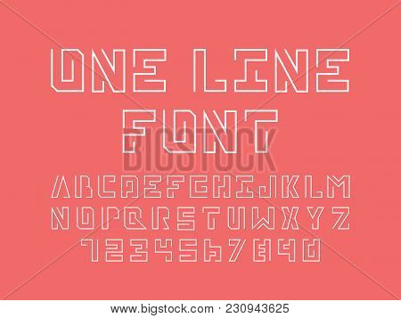 One Line Font. Vector Alphabet Letters And Numbers. Typeface Design.