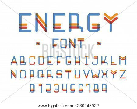 Energy Font. Vector Of Colours Alphabet Letters And Numbers. Typeface Design.