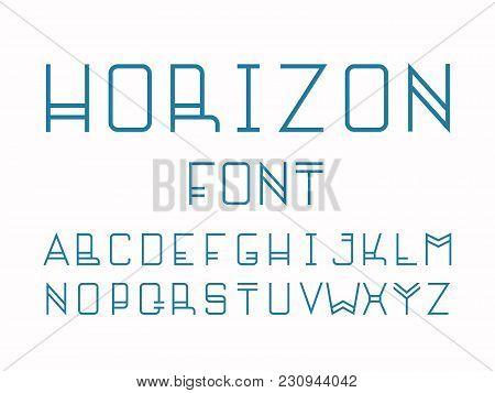 Horizon Font. Vector Alphabet Letters. Typeface Design.