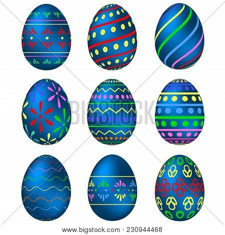 A Set Of Blue Easter Eggs With Colorful Patterns. Vector Illustration
