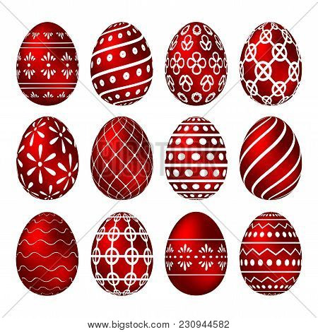 A Set Of Red Easter Eggs With Patterns. Vector Illustration
