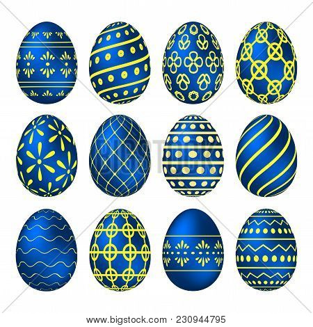 A Set Of Blue Easter Eggs With Yellow Patterns. Vector Illustration