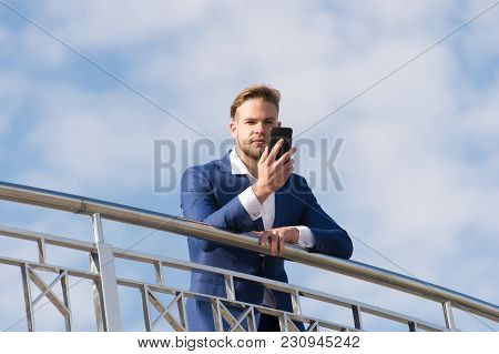 Business Communication, New Technology, Sms. Man With Smartphone On Terrace On Blue Sky, Business Co