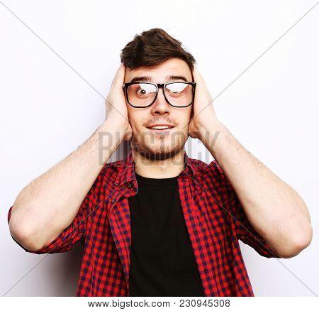 beautiful young man wearing glasses