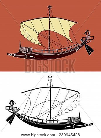 Bireme, A Small Sailing Ship From Ancient Greece, As Depicted On Pottery