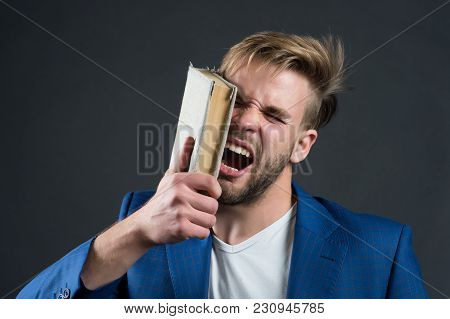 Man Beat Face With Book, Motivation. Angry Businessman Shout With Book, Knowledge. Motivation, Power
