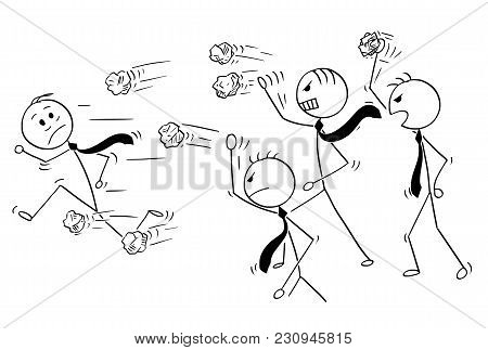 Cartoon Stick Man Drawing Conceptual Illustration Of Businessman Running Away From Group Of Angry Bu