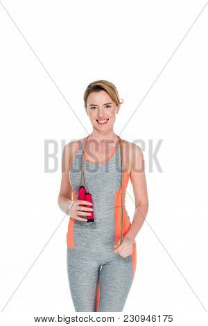 Smiling Sportswoman With Jumping Rope Isolated On White