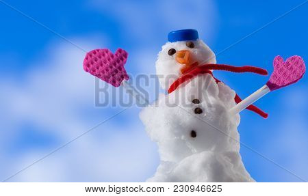 Little Happy Christmas Snowman In Blue Screw Top As Hat Red Scarf And Pink Gloves Outdoor. Winter Se