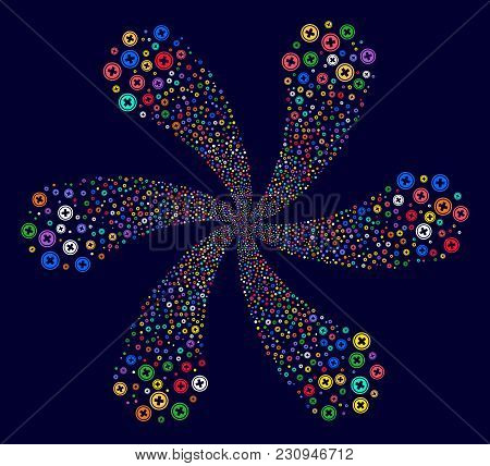 Colorful Pharmacy Exploding Flower With Six Petals On A Dark Background. Hypnotic Spiral Done From R