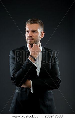 Manager In Formal Jacket, Shirt On Dark Background, Fashion. Business, Entrepreneurship, Career. Bus
