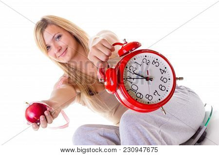 Diet, Fitness, Slimming, Loosing Weight Concept. Curvy Woman Holding Apple, Measuring Tape And Big O