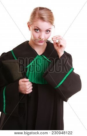 Portrait Woman Lawyer Attorney In Classic Polish Black Green Gown