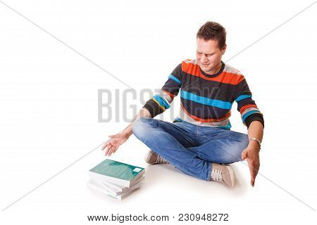 Exhausted , Discouraged Tired College Student With Pile Of Books Studying For Exams Isolated On Whit