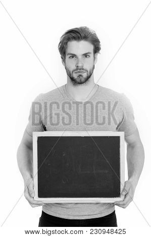 Young Man With Blackboard Isolated On White Background, Business And Marketing, Shopping And Black F