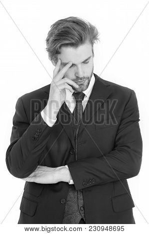 Businessman In Black Formal Outfit With Tired Or Thinking Face Isolated On White