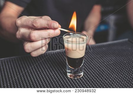 Barman Sets Fire To Cocktail B-52 On The Bar