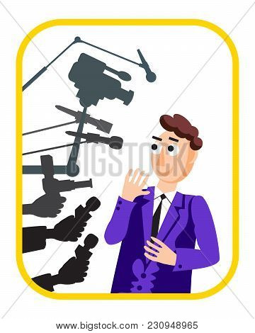 Interview. Vector Illustration. Speaker Man. Press Conference. Hands With Microphone. News. Live Rep