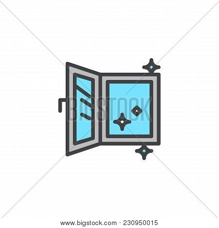 Open Clean Window Filled Outline Icon, Line Vector Sign, Linear Colorful Pictogram Isolated On White