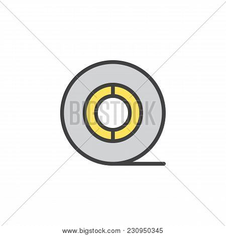 Toilet Paper Roll Filled Outline Icon, Line Vector Sign, Linear Colorful Pictogram Isolated On White