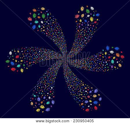 Multi Colored Infection Cell Rotation Fireworks On A Dark Background. Impressive Twirl Designed From