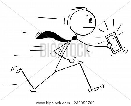 Cartoon Stick Man Drawing Conceptual Illustration Of Businessman Running With Ringing Mobile Phone O
