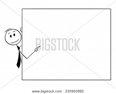 Cartoon Stick Man Drawing Conceptual Illustration Of Businessman Peeping From Behind Of Empty Sign A