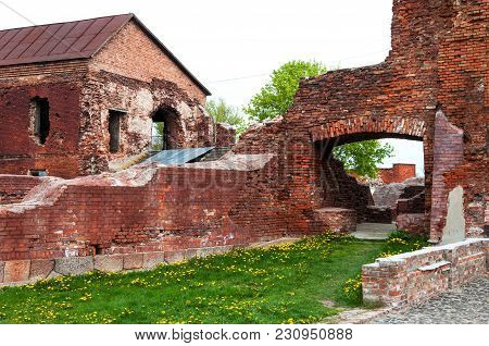 Destroyed Brick Wall Of The Brest Fortress. Memorial Complex Brest Fortress-hero. Brest, Belarus