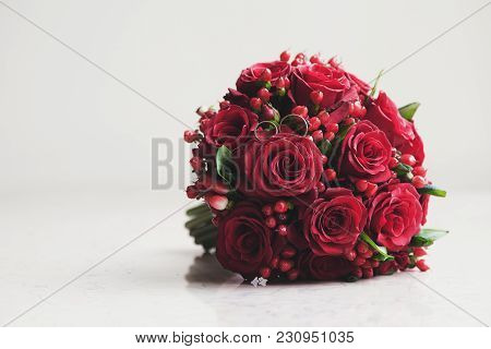 Classic Red Roses Are Presented In The Form Of A Wedding Bouquet Of Flowers. Red Roses. Wedding Red
