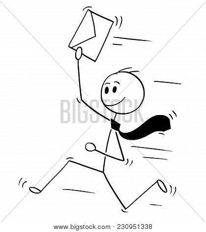 Cartoon Stick Man Drawing Conceptual Illustration Of Happy Businessman Running With Letter In Envelo