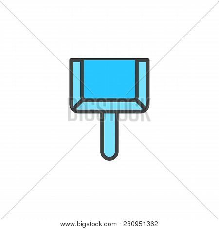 Dustpan Filled Outline Icon, Line Vector Sign, Linear Colorful Pictogram Isolated On White. Scoop Fo