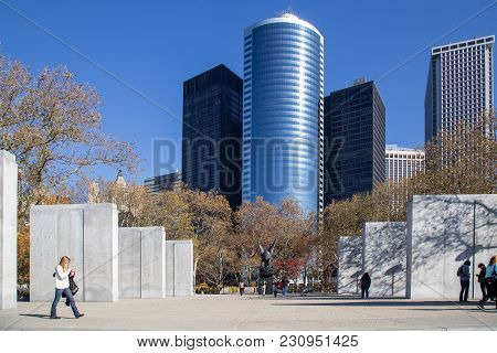 New York, United States Of America - November 18, 2016: Navy Memorial At Battery Park In Lower Manha