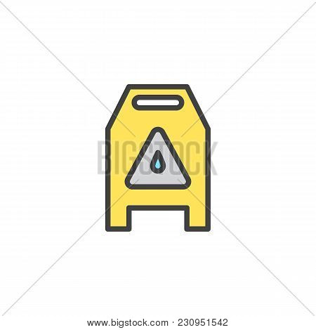 Slippery Wet Floor Sign Filled Outline Icon, Line Vector Sign, Linear Colorful Pictogram Isolated On