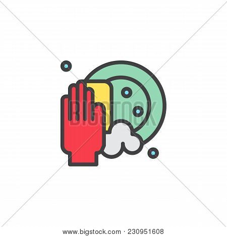 Clean Dishes Filled Outline Icon, Line Vector Sign, Linear Colorful Pictogram Isolated On White. Han