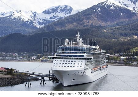The Cruise Liner Moored In Juneau Town, Most Popular Port Of Call In Alaska.