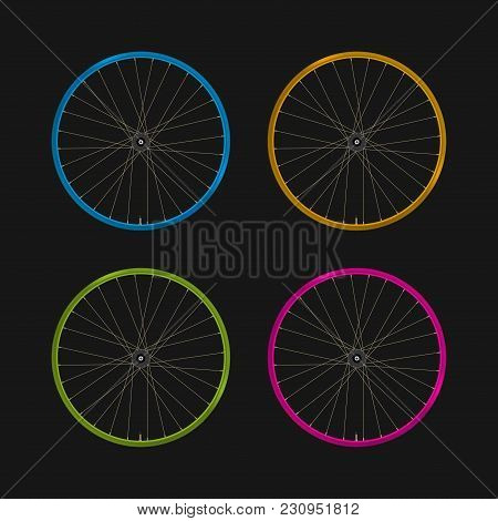 Multicolored Bicycle Rims On A Black Background. Bike Rims Of Different Colors And Spokes. Blue, Yel